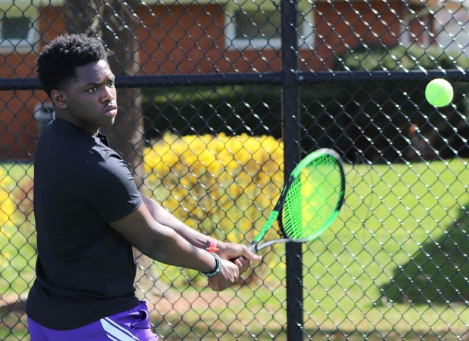 """Senior Michael James is playing first singles for DeSales and fourth-year coach Tom Snyder. """"(James) was playing really good tennis last year before we got shut down and I'm hoping he can regain that form,"""" Snyder said."""