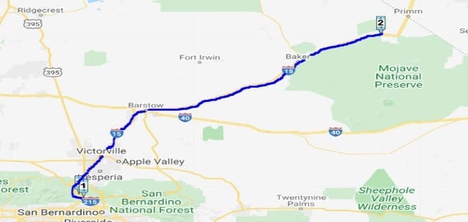 A nearly 140-mile resurfacing project on Interstate 15, between the Cajon Pass and Mountain Pass near Primm, Nevada, is expected to start Thursday evening, April 8, 2021, according to Caltrans officials.