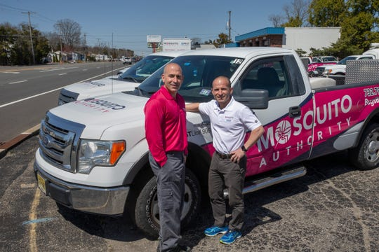 Bryan and Chris Madigan, co-owners of Misquito Authority/Pest Authority, on Fischer Blvd. in Toms River, where for eight years, they have provided pest control services.