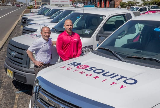Chris and Bryan Madigan, co-owners of Misquito Authority/Pest Authority, on Fischer Blvd. in Toms River, where for eight years, they have provided pest control services.