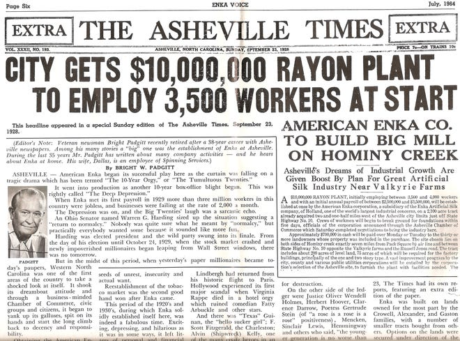 This headline appeared Sept. 23, 1928, in a special Sunday edition of the Asheville Times.