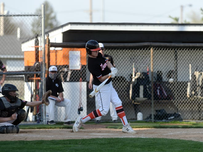 Ridgewood's Chase Booth takes a swing against River View in a game in April. Booth made first team All-IVC.
