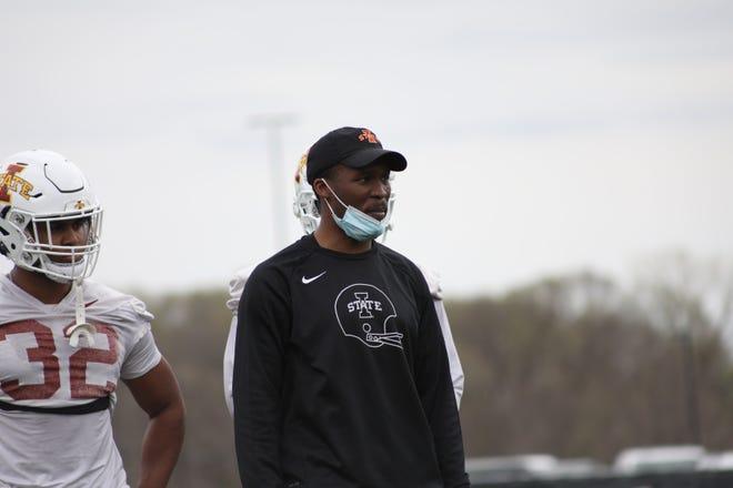 Iowa State safeties coach Deon Broomfield