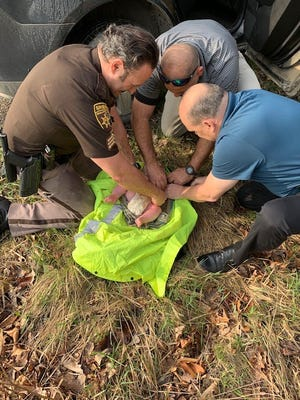 A 4-month-old baby was found in good condition on Wednesday, April 7, after being abandoned in a wooded area near Orion Township Creek.