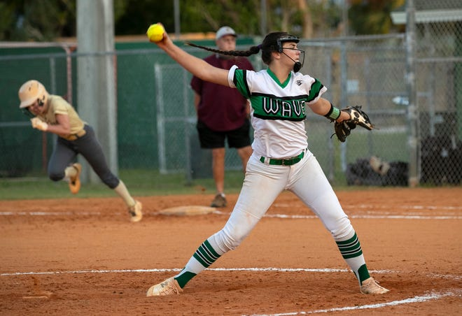 Julia Knowler of Fort Myers pitches in Tuesday, April 6, 2021, against Riverdale at Fort Myers High School.