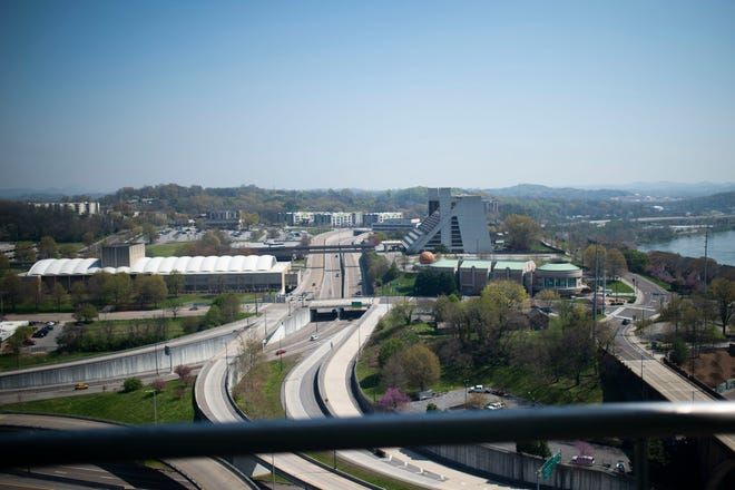 Downtown skyline looking east Knoxville, Tenn. on Tuesday, April 6, 2021.