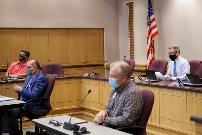 Tippecanoe County officials provide an update to the COVID-19 pandemic during a press conference at the Tippecanoe County Office Building, Wednesday, April 7, 2021 in Lafayette.