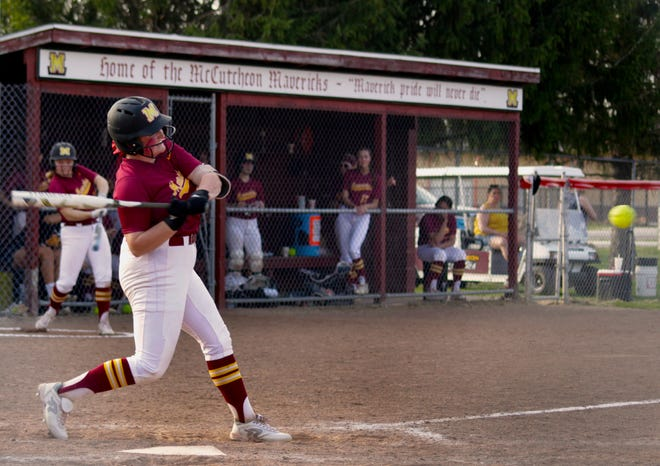 McCutcheon's Kennedy Peckinpaugh unloads on her second home run against Lafayette Jeff on April 6, 2021. It was Peckinpaugh's fourth home run in the last two games.