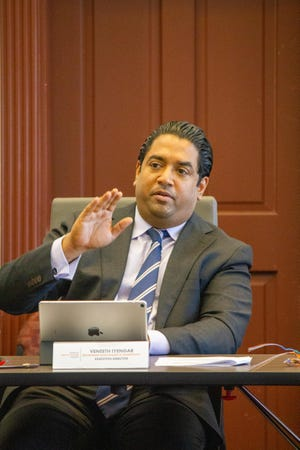 Newly-appointed Executive Director of Broadband Development and Connectivity for Louisiana Veneeth Iyengar during a roundtable on fiber internet access in Acadiana on Tuesday, April 6, 2021.