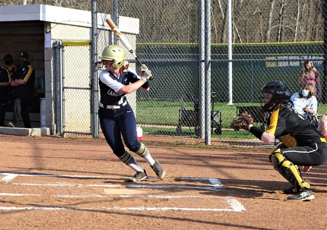 Lancaster's Zhari Hill prepares to slap the ball during the Lady Gales' 10-0 non-conference win over visiting Upper Arlington on Tuesday.