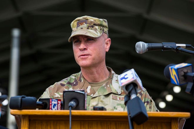 Colonel Jason Glass speaks to the press near the Pipkin Building for the new FEMA Vaccination Center in Memphis on Wednesday, April 7, 2021.