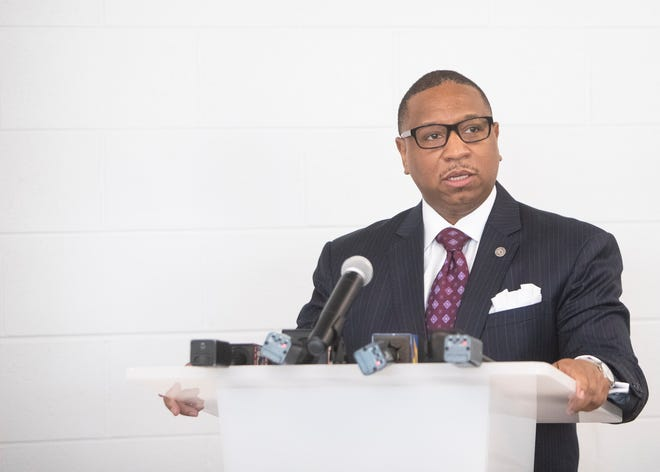 Superintendent Joris Ray speaks before a building tour of Alcy Elementary School in Memphis, Tenn., on Wednesday, April 7, 2021.