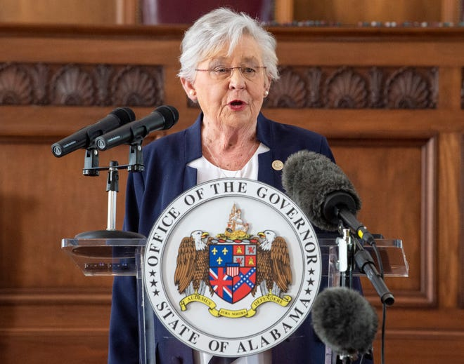 Gov. Kay Ivey speaks during a press conference at the Alabama State Capitol Building in Montgomery, Ala., on Wednesday, April 7, 2021.