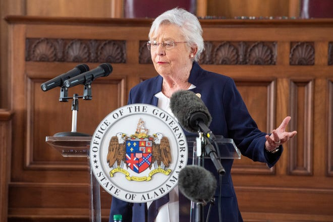 Gov. Kay Ivey takes questions from reporters during a press conference at the Alabama State Capitol Building in Montgomery, Ala., on Wednesday, April 7, 2021.