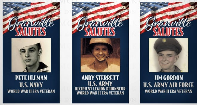 The Granville American Legion is planning to hold a Memorial Day parade, and ceremony in Maple Grove Cemetery that will focus on the community's six surviving WWII veterans. These special banners have been created to hang downtown for the event.
