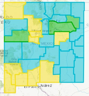 The New Mexico Department of Health released an updated COVID-19 map Wednesday, April 7, 2021, showing Doña Ana County remaining at the Yellow Level while a majority of counties turn Turquoise.