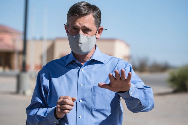Sen. Martin Heinrich is pictured at the US Customs and Border Protection Santa Teresa Port of Entry in Santa Teresa on Wednesday, April 7, 2021.