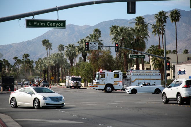 A portion of road sits closed off near the intersection of La Verne Way and East Palm Canyon Drive due to a natural gas leak on Wednesday, April 7, 2021, in Palm Springs, Calif.