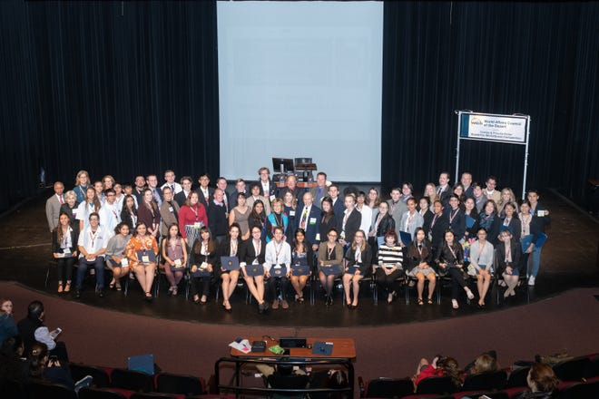 Students, coaches and volunteers are shown at the Academic WorldQuest Competition hosted by World Affairs Council of the Desert.