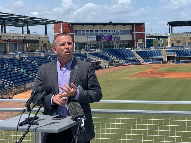 Blue Wahoos president Jonathan Griffith addresses media representatives April 7 to announce near-capacity seating availability in 2020 season.