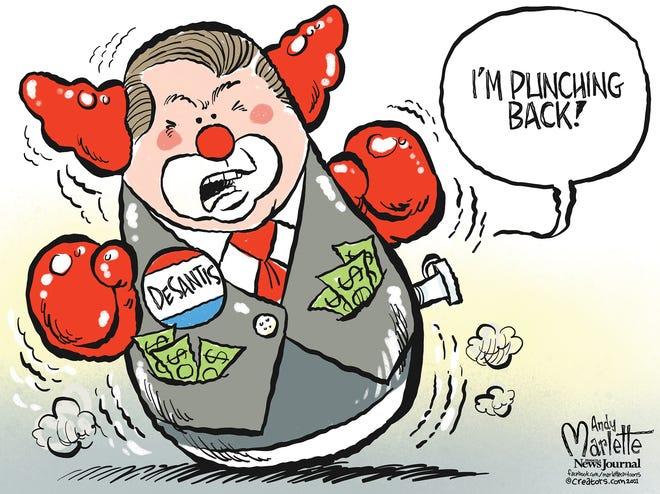 Marlette cartoon: DeSantis punches back