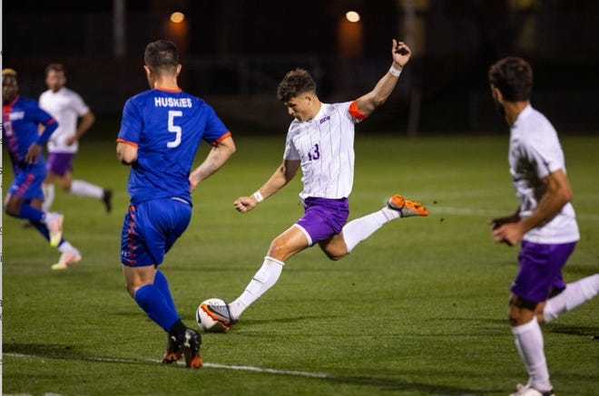 Grand Canyon University soccer player  Justin Rasmussen, a senior, makes a play on the ball during a GCU men's soccer game.