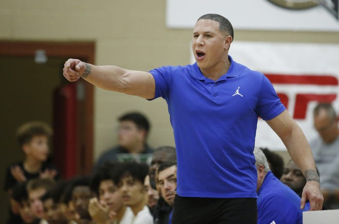 Hillcrest Prep's head coach Mike Bibby yells out to his team during the 2019 Hoophall West basketball tournament game against Prolific Prep at Chaparral High School in Scottsdale, Ariz. on Dec. 5, 2019.