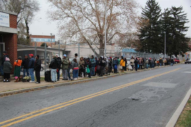 A long line pre-COVID wraps around the street corner at the York Benevolent Association, located at301 Kings Mill Road in York City.