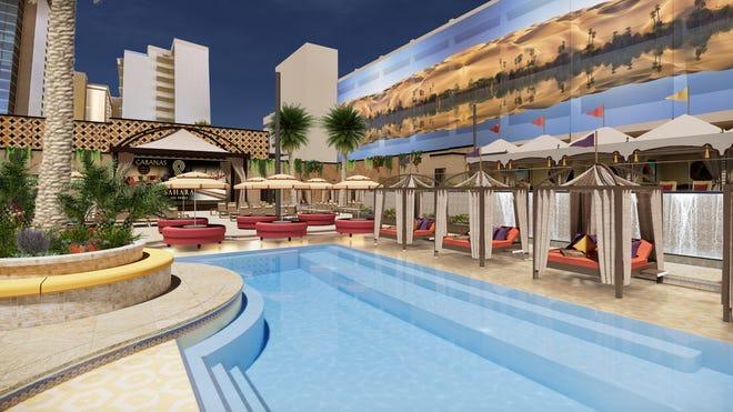 A pool deck view at the forthcoming Azilo Ultra Pool at Sahara Las Vegas.