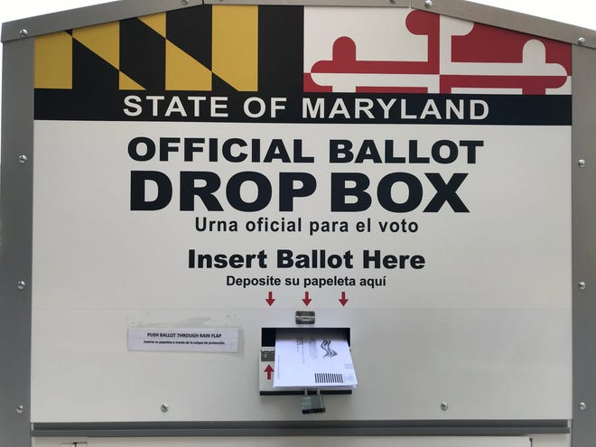 A ballot drop box located in Wheaton, Maryland, in 2020. (Karen Denny/ Capital News Service)