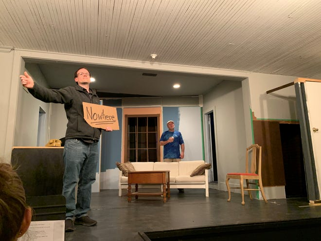 The cast of the Mighty Corson Art Players rehearses a scene from Charlie Cox Runs with Scissors on Tuesday, April 6, 2021.