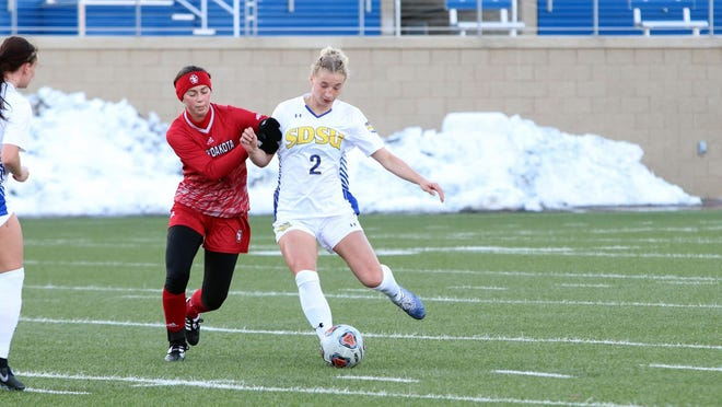 South Dakota State's Gabby Vivier-Hannay moves the ball upfield in a game against USD at Dana J. Dykhouse Stadium