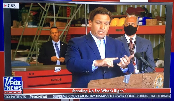 """A clip from Gov. Ron DeSantis' appearance on CBS' """"60 Minutes"""" as replayed on Fox News."""