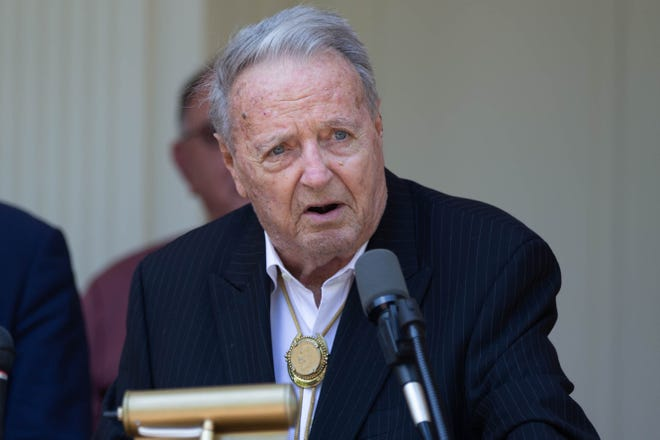 Former Florida State football coach Bobby Bowden speaks before being presented with the Governor's Medal of Freedom from Florida Gov. Ron DeSantis on April 7, 2021.