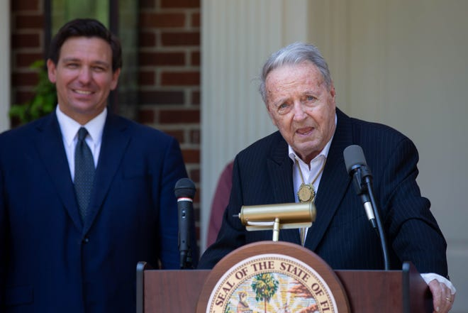Former Florida State University Head Football Coach Bobby Bowden speaks before being presented with the Governor's Medal of Freedom from Gov. Ron DeSantis, the first person to receive the recognition at the Governor's Mansion in Tallahassee Wednesday, April 7, 2021.