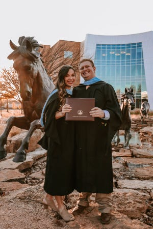 Alexandra and Cooper McClung are a married couple who are among the students in MSU's first doctorate in education program.