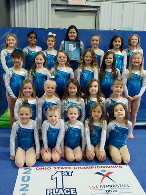 The Zanesville Gymnastics Level 2 Team became the 2021 Ohio State Champions. Team members pictured are: First row (left to right): Briley Buchanan, Tyler Nash, Emerson Gardner, Alivia Hesson, McKenzie Seaver. Second Row: Quinn Hartley, McKenzie Basham, Brynlee Jones, Aria Mbiad, Allie Cunningham. Third Row: Raniyah Horton, Brittyn Brown, Brynlee Brown, Pyper Stipes, Scarlett Buchanan, Kennedy Hittle. Fourth row: Maddison Moore, Syeira Patel, Paisley Sykes, Jolena Simpson, Braelyn Bragg, Emma Seaver, and Bella Daniels. Lily Daugherty is not pictured.