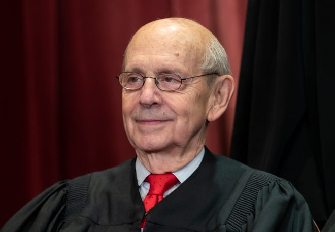FILE - In this Nov. 30, 2018, file photo, Associate Justice Stephen Breyer sits with fellow Supreme Court justices for a group portrait at the Supreme Court Building in Washington. Progressives are hoping 82-year-old Justice Stephen Breyer retires soon to allow President Joe Biden to appoint a like-minded successor while Democrats control the White House and Senate.  (AP Photo/J. Scott Applewhite, File) ORG XMIT: WX204