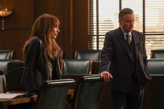 "Katey Sagal, in a scene with Andy Garcia, plays the titular character in ABC's drama ""Rebel."""