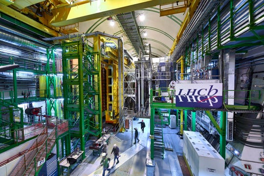 This 2018 photo, by CERN, shows the LHCb Muon system at the European Organization for Nuclear Research Large Hadron Collider outside Geneva.  Preliminary results published in 2021 from here and the Fermilab plant in the United States challenge the way physicists think the universe works - an opportunity with the field of particle physics both puzzled and excited.