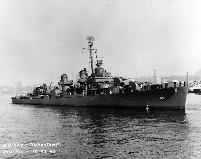 USS Johnston off Seattle, Washington, 27 October 1943 a year before it sank in October 1944.