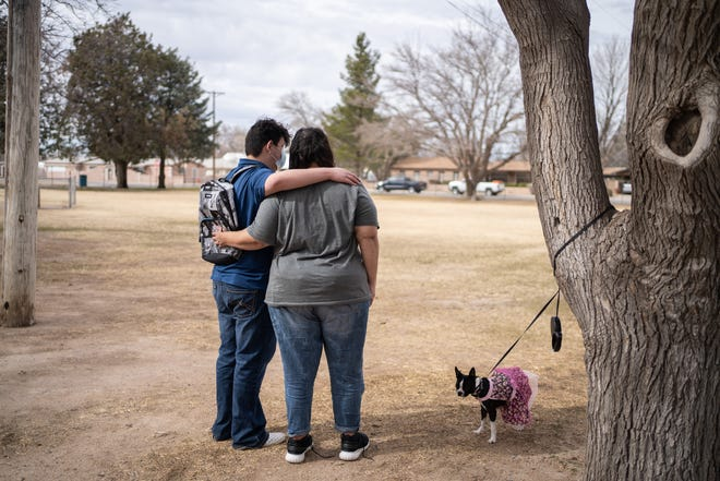 Alan is pictured with his mother, Juliet, in Deming, NM on February 13, 2021. Alan, who has Tourette Syndrome, has struggled with teachers and peers at school because of his involuntary outbursts.