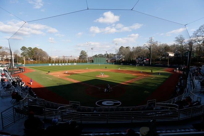 Georgia baseball held opening day at Foley Field hosting Evansville in Athens, Ga., on Friday, Feb. 19, 2021. Evansville won 3-2. [Photo/Joshua L. Jones, Athens Banner-Herald]