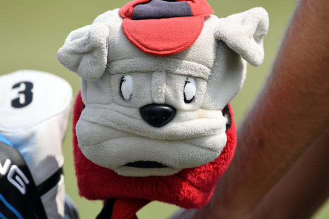 Harris English's head cover of a Georgia Bulldog in his bag at the range during the opening practice round of the U.S. Open golf tournament at Erin Hills. Mandatory Credit: Michael Madrid-USA TODAY Sports