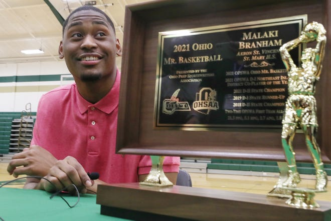Malaki Branham is all smiles after receiving the 2021 Mr. Basketball award. Branham, an Ohio State signee, scored 1,501 career points and was named first-team all-state twice.