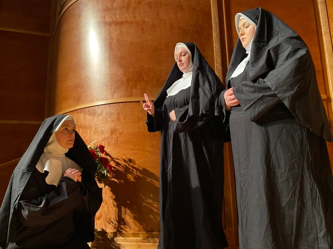 """Chloe Ridolfo (center), Shannon Burr (right) and Sarah Beckham-Turner (left) perform in WTAMU's opera workshop production of Giacomo Puccini's """"Suor Angelica"""""""
