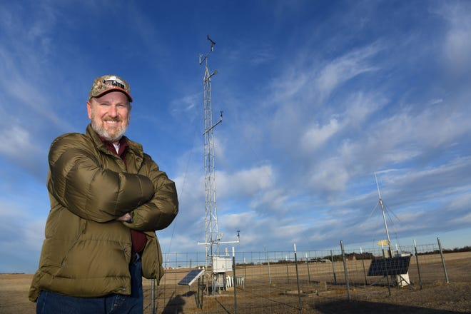 Pantex Meteorologist Steve Kersh recently checks a nearby MesoNet station. Pantex will soon be installing its own MesoNet weather station. ©2021_DOE/NNSA Pantex