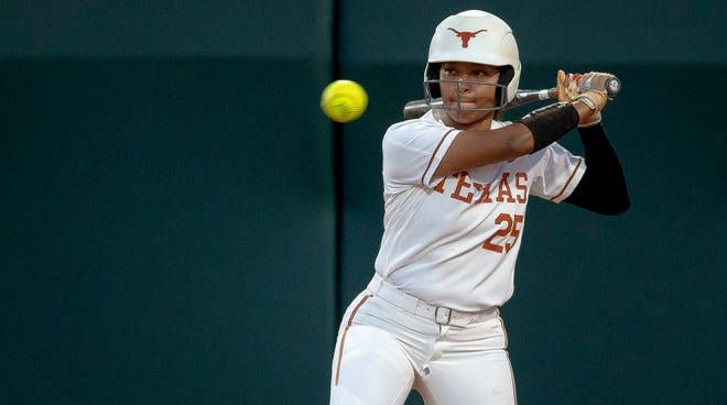 Kaitlyn Washington, seen hitting in a 2019 game, smacked a three-run homer to help the Longhorns rout UT-Arlington 12-0 Wednesday night.