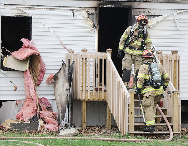 Ashland firefighters respond to a mobile home fire in the Meadowbrook Trailer Park.