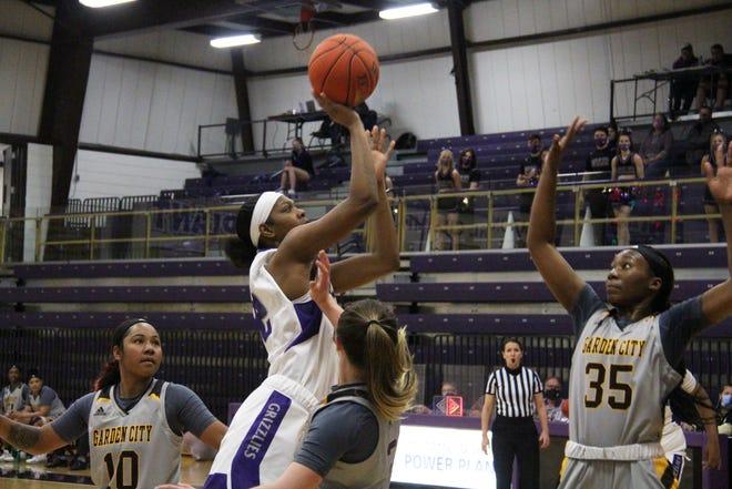 Butler's Tamara Nard attempts a shot against two Garden City defenders in the second half in Wednesday's Region VI Quarterfinal at the Power Plant in El Dorado, Kansas.